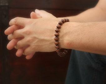Men's Wood Bracelet, Men's Beaded Bracelet, Brown Stretch Bracelet, Bohemian Bracelet, Bohemian Jewelry, Ready to Ship, Father's Day