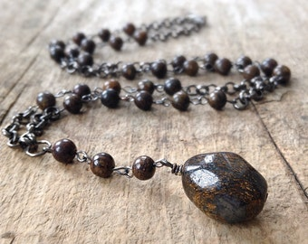 Men's Rosary Necklace, Stone Rosary, Brown Rosary Style Necklace, Bronzite Stone, Brown Necklace, Bohemian Jewelry