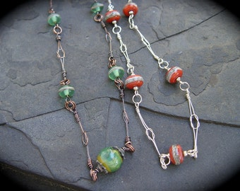 Delicate Love Knot Handmade Copper or Sterling Silver Chain with Handmade Lampwork Teal Green Necklace