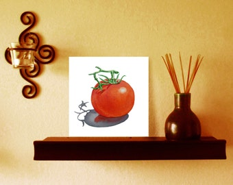 Happy Tomato Original Painting on Watercolor Board 5 x 5 Plus FREE Gift Box and Easel Ready Gift