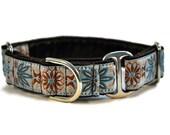 Blue and Gray Pinwheel Jacquard Martingale Collar - 1 Inch