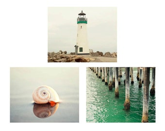 Nautical Photography Set, Ocean Photography, Lighthouse Art, Emerald, Sea Shell, Nautical Decor, Ocean Photography Set, 5x7, 8x10, 11x14