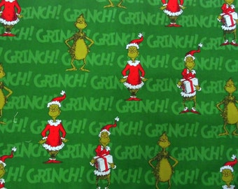 How the Grinch Stole Christmas Holiday Fabric-Grinch Santa Sewing fabric-Dr. Seuss By the Yard