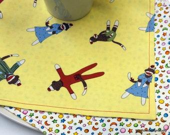 Funky Sock Monkeys  Lunchbox Kid's Cloth Napkins  // Set of 2