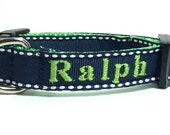 Navy Blue Personalized Dog Collar  with name