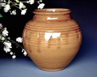 Small Wide Mouth Pottery Flower Vase Handmade A