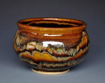 Dark Umber Stoneware Tea Bowl Chawan C