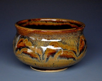 Gold Umber Stoneware Tea Bowl Chawan D
