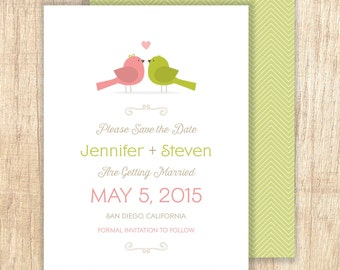 Love Bird Couple Wedding Save the Date, Shower Invitations