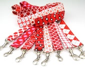 READY to SHIP! Lanyard, Badge ID Holder. Fabric Neck Key Chain- Reds