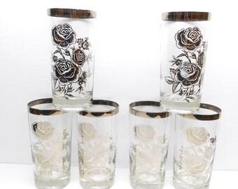 Vintage Silver Rose Drinking Glasses