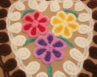 Plush Bright Flowers in Chocolate Hearts Vintage Chenille Bedspread Fabric - 2 Pieces with 3 Hearts and 9 Flowers