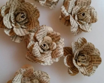 Rustic Book Print Paper Flowers for Wedding, Birthday, Bridal or Baby Showers Decorations (set of 12) Custom Made
