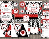 Ladybug Baby Shower Party Package, Printable File, Girl  Baby Shower, Black Chevron, Red Polka Dots, Cute Baby Shower, Ladybug Invitation