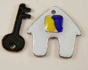 House and Key Enameled Components