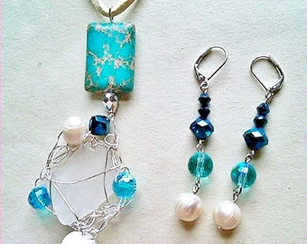 Wire wrapped Sea Glass with Pearls, Czech Crystals, and Blue Serpentine