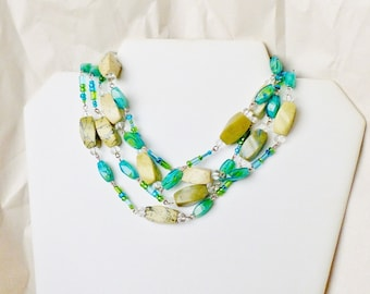 Green Turquoise Beaded Glass Long Necklace- Wired in Silver