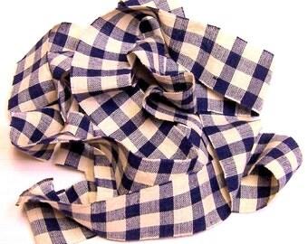 1 yard Homespun Cotton Fabric Ribbon Large Navy Blue Check