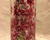 Hand Painted Vase or Candle Holder - Spring Garden Red - FREE Shipping to Continental USA!