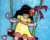Swing a mixedmedia illustration 11x14 on canvas