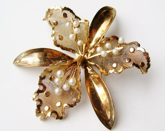 Vintage Gold Vermeil Sterling Silver Pearl Hawaiian Orchid Pin Brooch