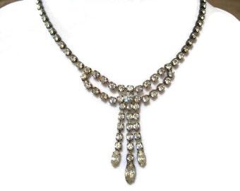 vintage rhinestone necklace, wedding, bridal, prom, holiday
