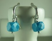 Turquoise Cubes Dangling Earrings, European Leverback Earwires, Sterling Silver, Southwest Jewelry, December Birthday, 1 1/8 in (2.5 cm)
