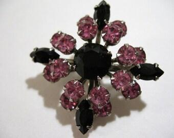 Vintage Brooch with Pink and Black Rhinestones