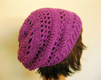 Crochet Slouch Beanie Hat-Purple Slouchy Beanie-Lacy Crochet Beanie-Violet Crochet Beanie-Purple Crocheted Slouch Hat - Boho Slouch