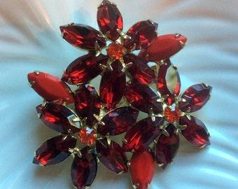 Red Rhinestone Flower Brooch