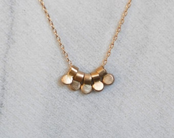 Gold Dewdrop Necklace - Five Tiny 14k Gold Pendants - Eco-Friendly Recycled Gold
