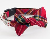 Holiday Red Tartan Dog Bowtie Collar
