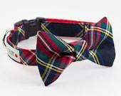 Holiday Black Tartan Dog Bowtie Collar