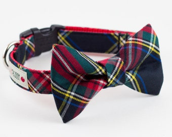 Holiday Black Tartan Dog Bowtie Collar