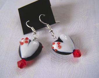 Heart Earrings Lampwork Valentine Clearance