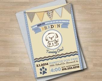 Puppy Dog Boy Birthday Party Invitation