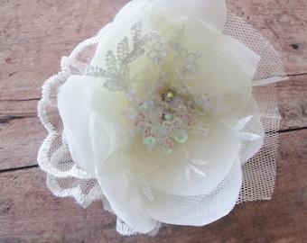 Ivory flower hair accessory, Bridal wedding hair clip.