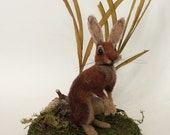 Reserved for Maria Belgian Hare Needle Felted Sculpture