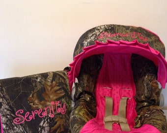 3 Piece Set Realtree Camo Fabric Infant Car Seat Cover And