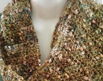 Crocheted Scarf - Brown, Cream, Olive Green, Taupe