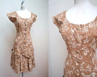 1950s Novelty print cotton day dress, with mermaid skirt, B S Miami - Xs