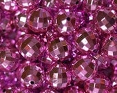 20mm Pink UV Plated Disco Ball Beads for Chunky Necklace 10 ct Bubble Gum Necklace Beads Faceted