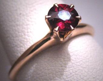 Antique Garnet Wedding Ring Victorian Art Deco Gold c.1900
