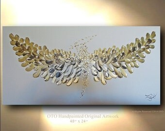 ORIGINAL Painting 48 x 24 Metallic Gold Brown Angel Oil Abstract Fairy Art Textured Artwork Fine art canvas by OTO
