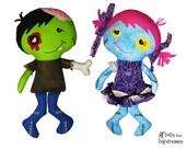 Zombie Sewing Pattern PDF - Spooky Cute Halloween DIY Doll Tutorial