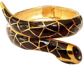 Black Gold Enamel Snake Clamper