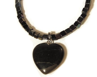Black Iridescent Glass Seed Bead Necklace with Black Stone Heart; Goth, Vampire, Black Heart,