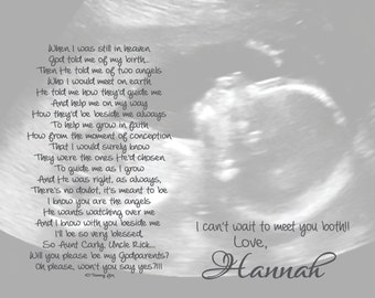 Will You Be My Godmother/Godfather/Godparents Poem from Unborn Baby Personalized 8x10/11x14 Poetry Print
