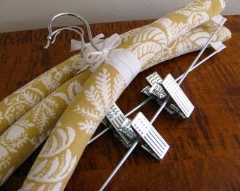 Padded Hangers, Yellow Toile Bottom Hangers, Padded Hangers with Clips, Set of 3 Skirt Hangers, Toile Bottom Hangers, Pant Hangers w| clips
