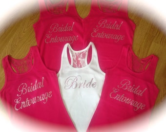 11 Colored Rhinestones Bridesmaid Tank Tops. Bachelorette Party Shirts. Bachelorette gift. Bridesmaid Tank Tops. Weddings. Bride.
